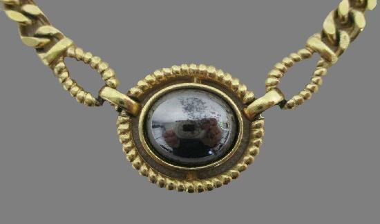 Vintage gold tone, hematite necklace