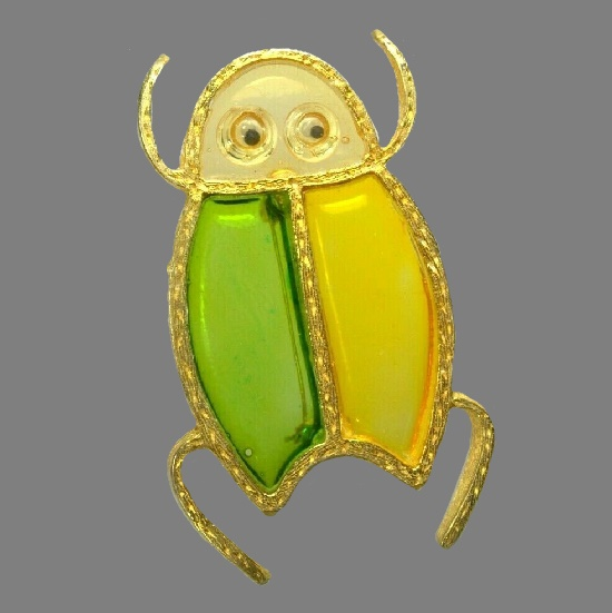 1950s Bug brooch. Resin Plique a Jour stained glass technique, gold plated edges