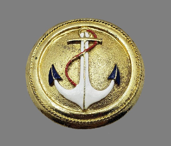 Anchor belt buckle. Gold tone, button shaped, black and white enamel. 1940s