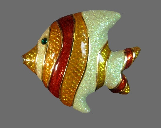Angel Fish brooch. Gold tone metal, iridescent Ivory, orange, red stripes
