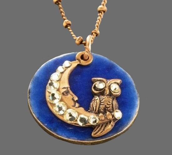 Anne Koplik design 'Once In A Blue Moon' Owl Swarovski Necklace