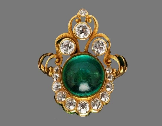 Antique gold, diamond, emerald brooch