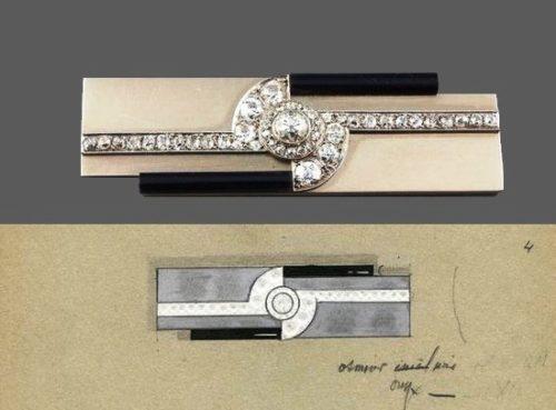 Art Deco Brooch and sketch