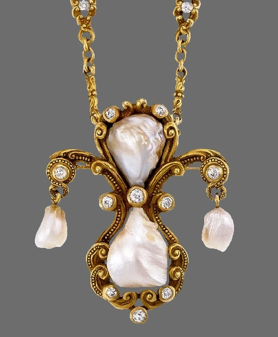 Baroque pearl, diamond and gold necklace