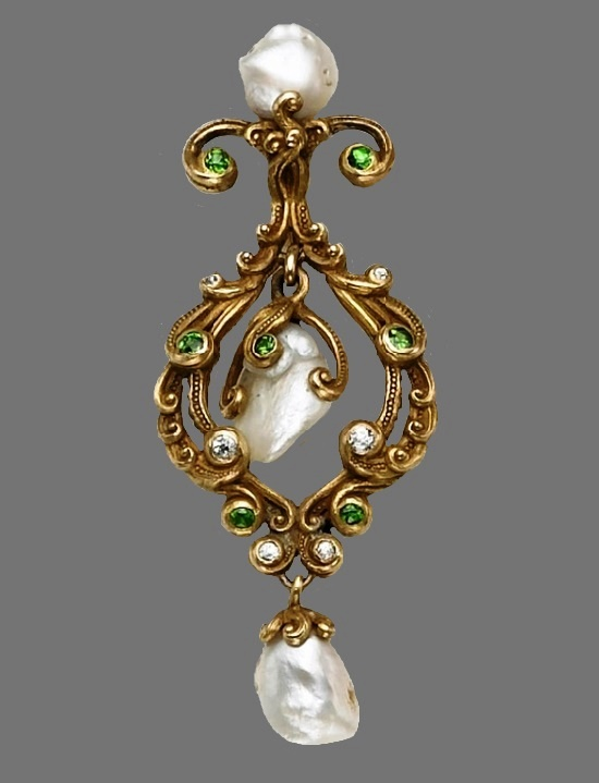 Baroque pearl, diamond and gold pendant