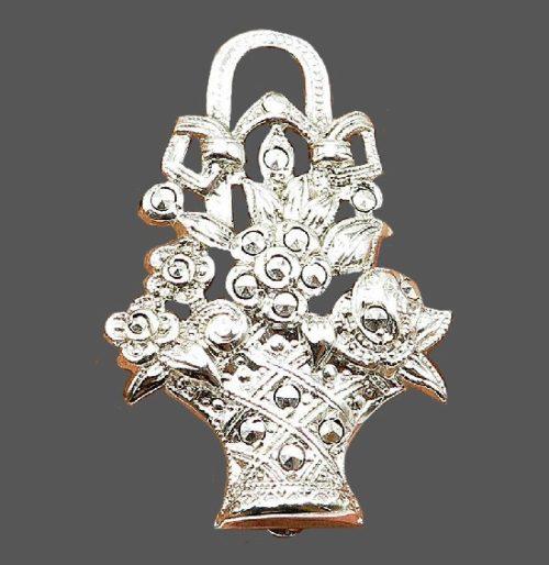 Basket of flowers brooch. Sterling silver marcasite