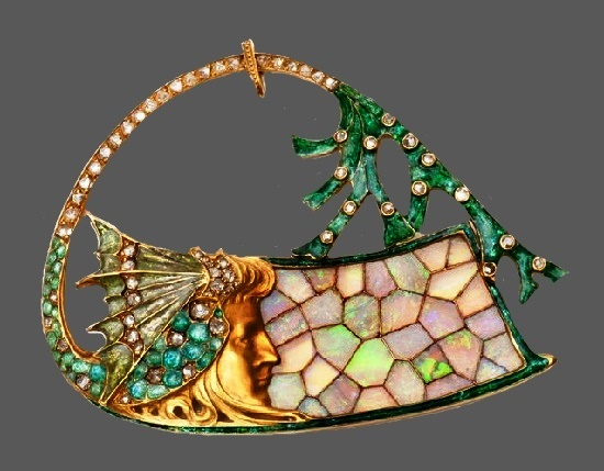 Beautiful gold stained glass mother of pearl crystal brooch