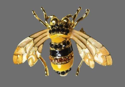 Bee antique brooch. Gold tone metal, topaz-hued Swarovski crystals, enamel