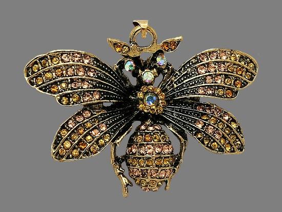 Bee pendant. Gold tone, champagne rhinestone