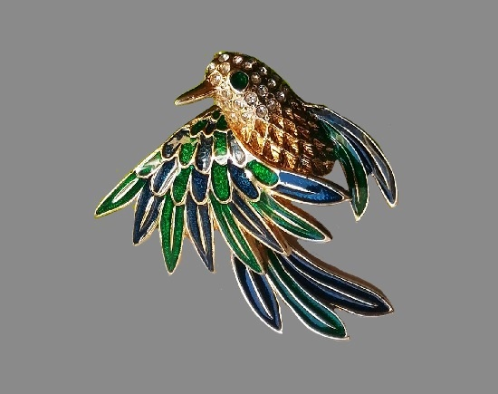Bird brooch. 14 K gold plated, jewelry alloy, enamel, crystals. 1970s