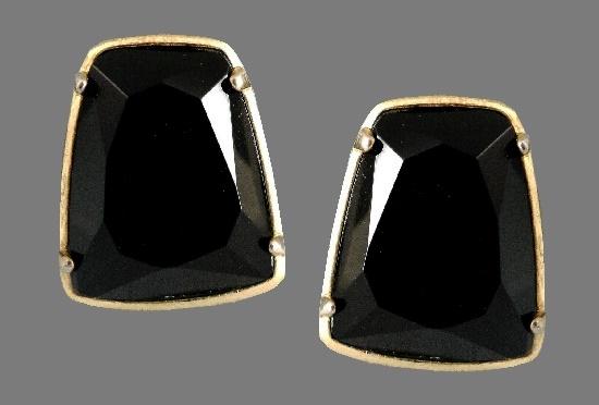 Black glass trapezoid earrings, gold tone metal