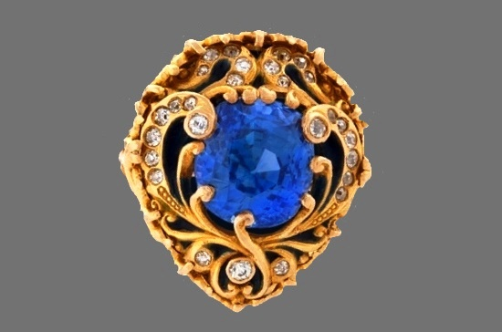 Blue sapphires gold and diamonds brooch