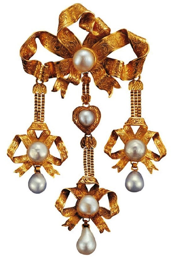 Bow chatelain. Gold, pearls
