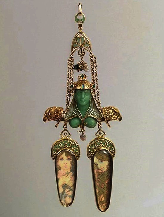 Brooch, circa 1900. On the sketch A. Mucha. Gold, enamel, mother of pearl, emerald, colored stones. Metropolitan Museum of Art, New York