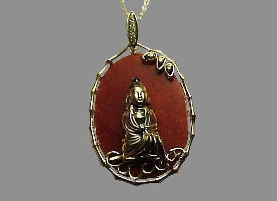 Buddha pendant. Sterling silver, jade