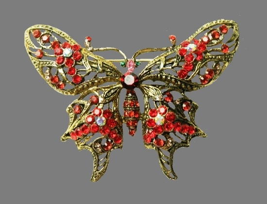 Butterfly antique brooch. Gold tone metal, Czech crystals