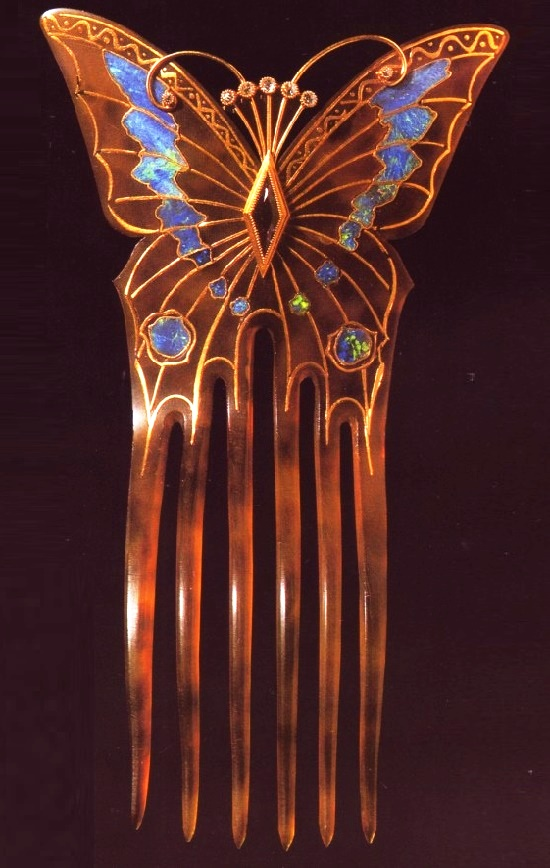 Butterfly hairpin,1899. Tortoise shell, inlaid with gold opals, faceted amethysts and diamonds; 15, 0 cm, 9, 0 cm; Petit Palais Museum, Paris