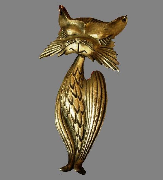 Cat pendant. Copper tone textured metal