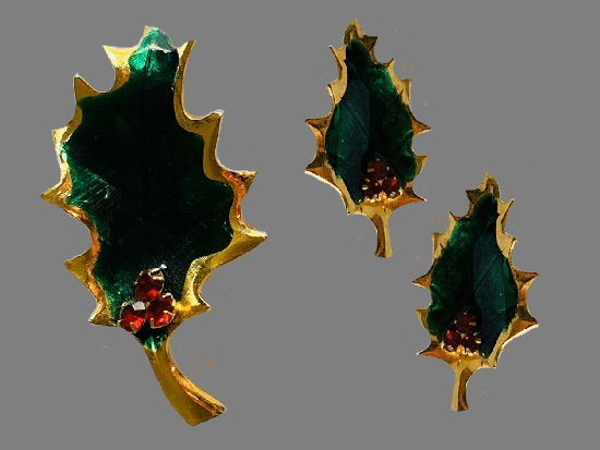 Christmas Holiday Holly Leaf Brooch Earring Set