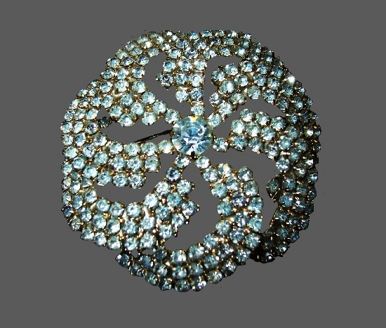 Clear crystal pinwheel brooch. 1950s
