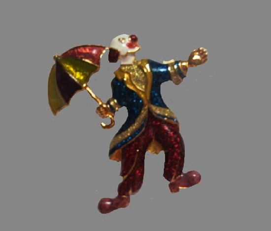 Clown with umbrella brooch. Gold tone, glitter in enamel