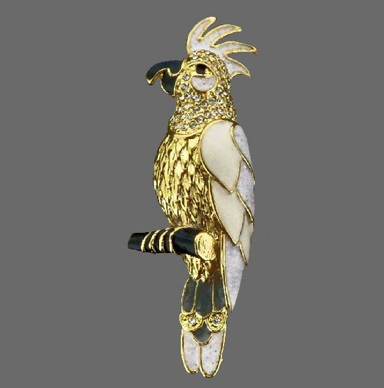Cockatoo brooch. Gold tone, enamel, crystal. 1999