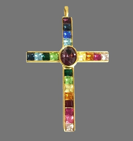 Cross pendant. Multicolor crystal, gold filled. 1990s