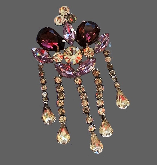 Dangling crown pin. Silver tone, multi faceted rhinestones of lavender, purple and clear colors