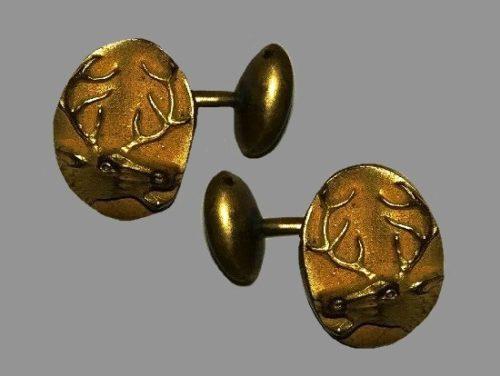 Deer Cufflinks. Gold filled, engraved deer image