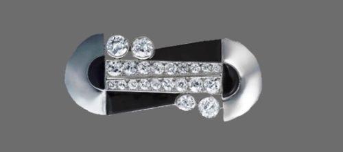 Diamond, Platinum, enamel brooch