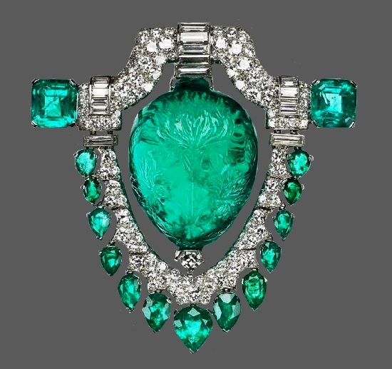 Diamond, emerald, platinum pendant brooch