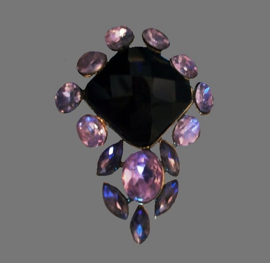 Diamond shape pink purple rhinestone pin
