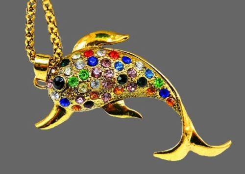 Dolphin pendant. Gold tone metal, multicolor rhinestones