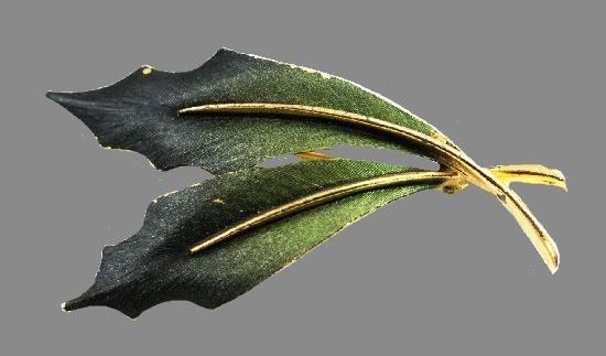 Double Leaf brooch. Gold tone metal, green enamel