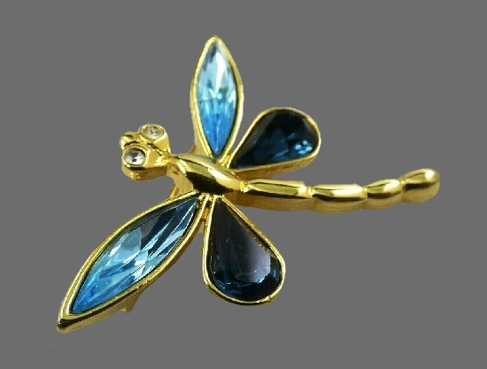 Dragonfly Brooch. Gold tone metal, blue crystal, rhinestone