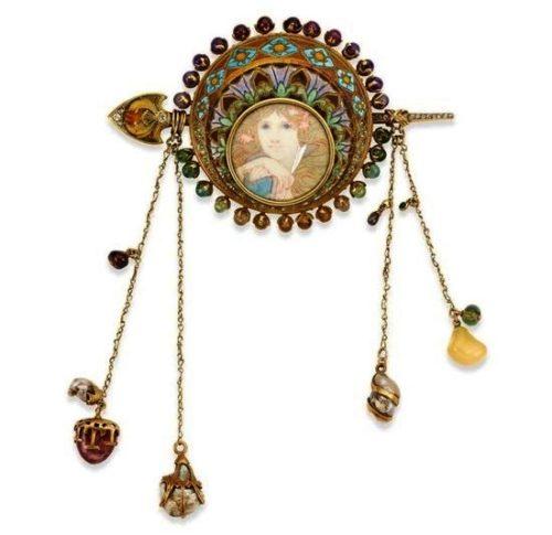 Fabulous brooch on the sketch of A. Mucha. Gold, enamel, semi-precious stones