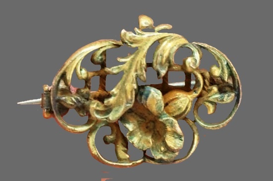 Floral design openwork brooch of bronze tone metal
