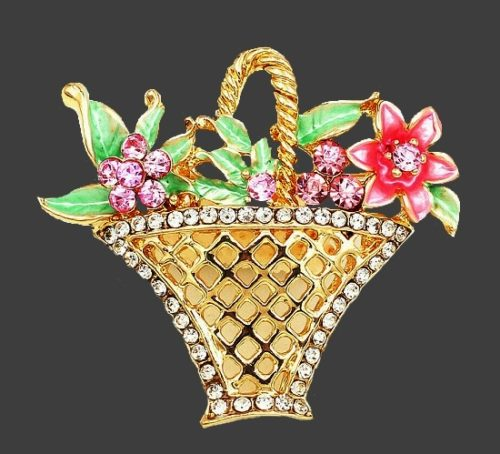 Flower basket brooch. Gold tone metal, rhinestones, enamel