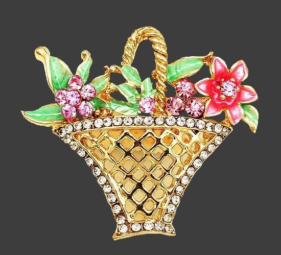 Flower basket brooch. Gold tone metal, rhinestones, enamel