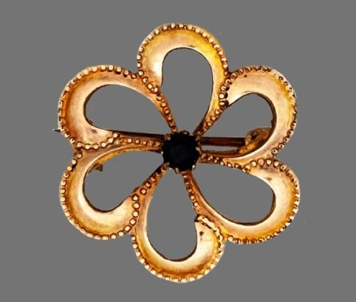 Flower openwork brooch pin. 14k gold filled