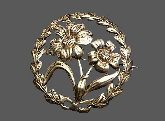 Flower wreath sterling silver brooch pin