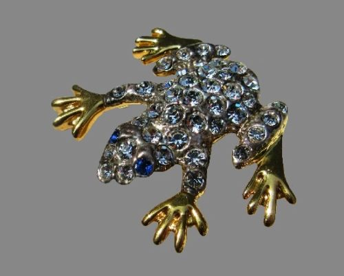 Frog brooch. Gold and silver tone, blue and clear rhinestones
