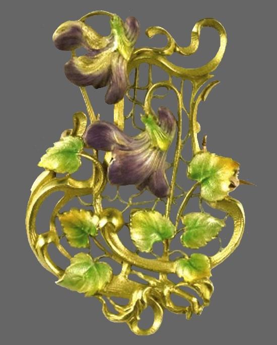 Garden flower design gold tone enameled brooch pendant