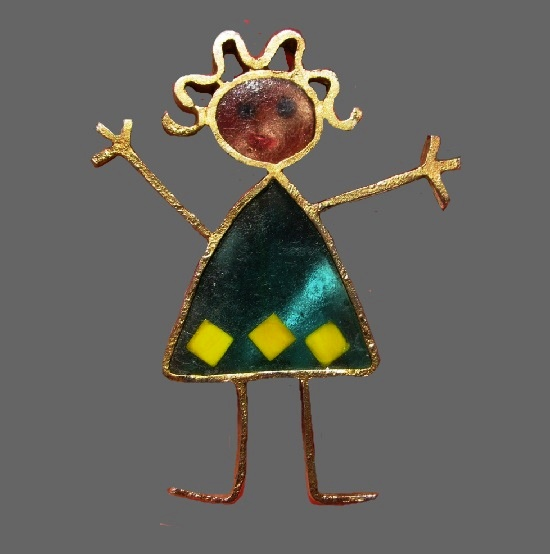 Girl stick brooch. Gold tone, stained glass resin