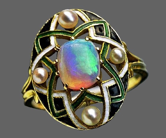 Gold, opal, enamel and pearl ring