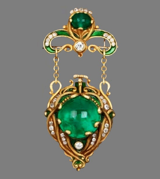 Green emerald, gold, diamond pendant
