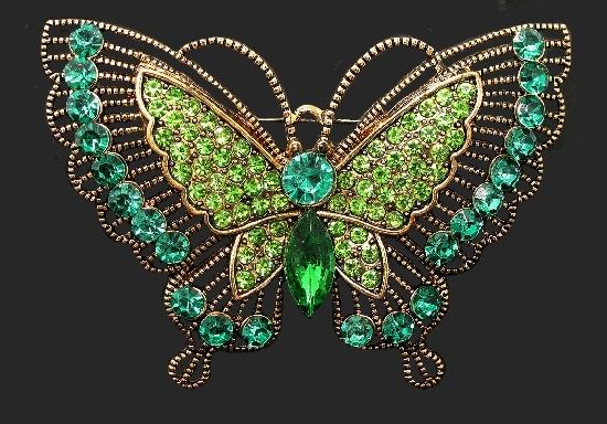 Green tone butterfly brooch pin. Gold tone alloy, crystals, rhinestones. 7 cm