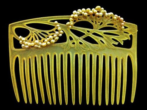 Hair comb. Ivory, pearls