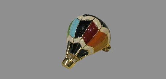 Hot Air balloon brooch. Gold tone metal, enamel