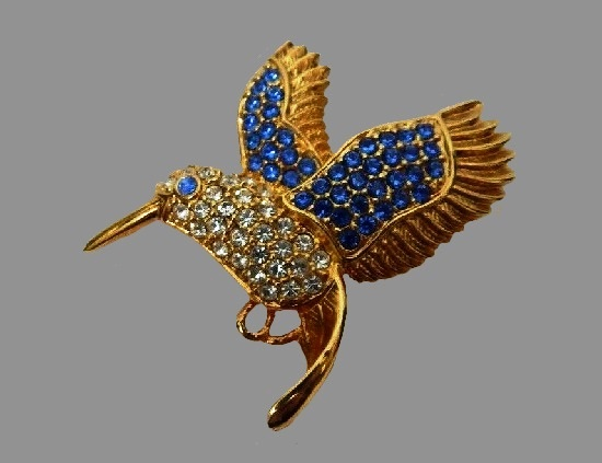 Hummingbird brooch. Gold tone metal, blue and white rhinestones. 1999